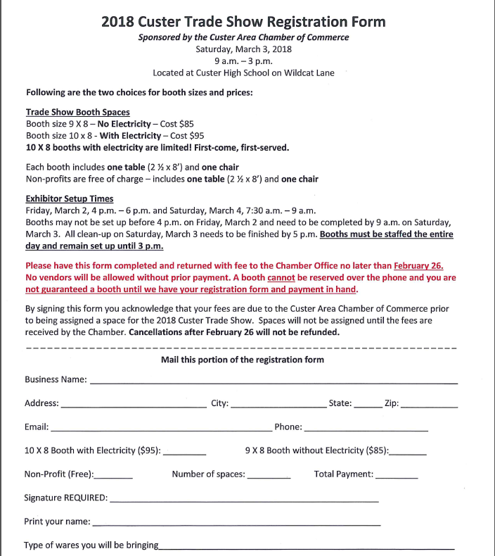 Trade Show Registration Form picture
